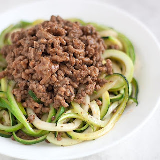 Picadillo over Zucchini Noodles {Lean Ground Beef}