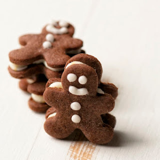 Mini Chocolate Gingerbread Men Sandwich Cookies