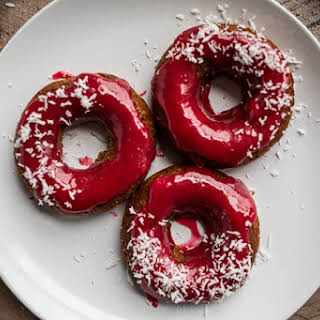 Gingerbread Cake Donuts with Cranberry Glaze (Gluten-Free, Vegan).