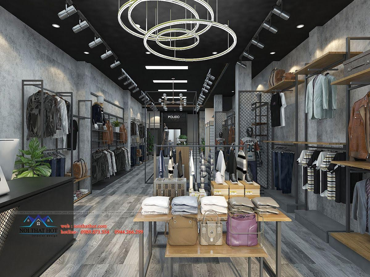 thiết kế shop thời trang nam polido 2