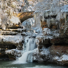 Old Mans Cave Upper Falls by Bud Schrader - Landscapes Caves & Formations