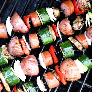 Grilled Kielbasa and Veggie Kabobs
