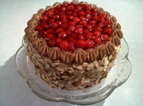 """Chocolate & Cherry Amaretto Cake """"This cake is the tallest one I've..."""