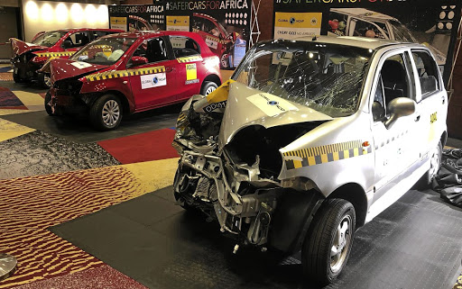 Three of the cars on sale in SA that were crash tested, left to right: Datsun Go+, Toyota Etios and Chery QQ3. Picture: MARK SMYTH