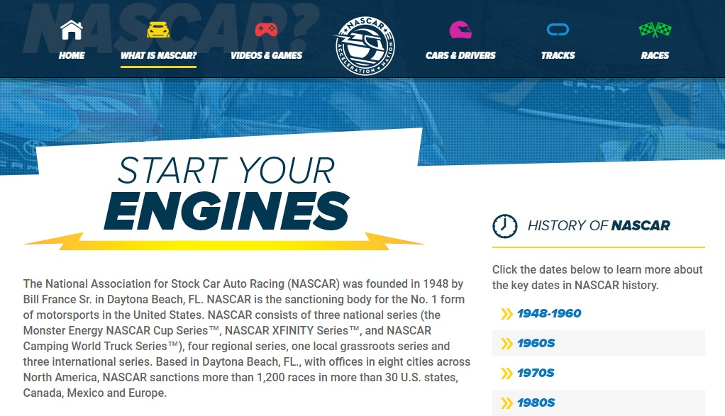 NASCAR Acceleration Nation website & app are packed with games, videos, driver and track information, learning fun, and so much more