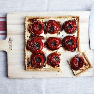 Tomato Tart with Goat Cheese, Quark, Prosciutto, and Gremolata.