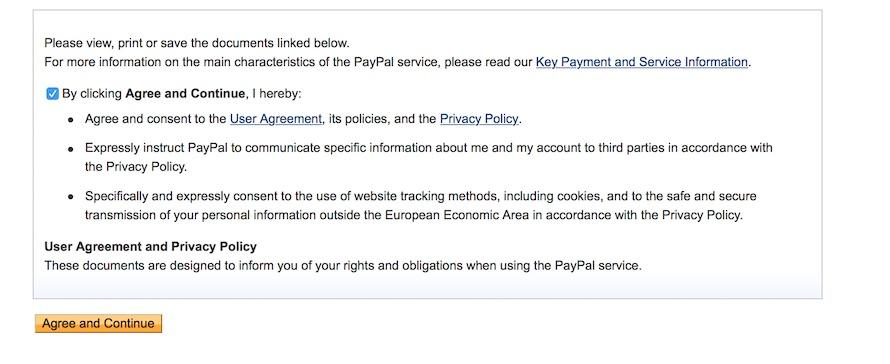 paypal consent user agreement privacy policy
