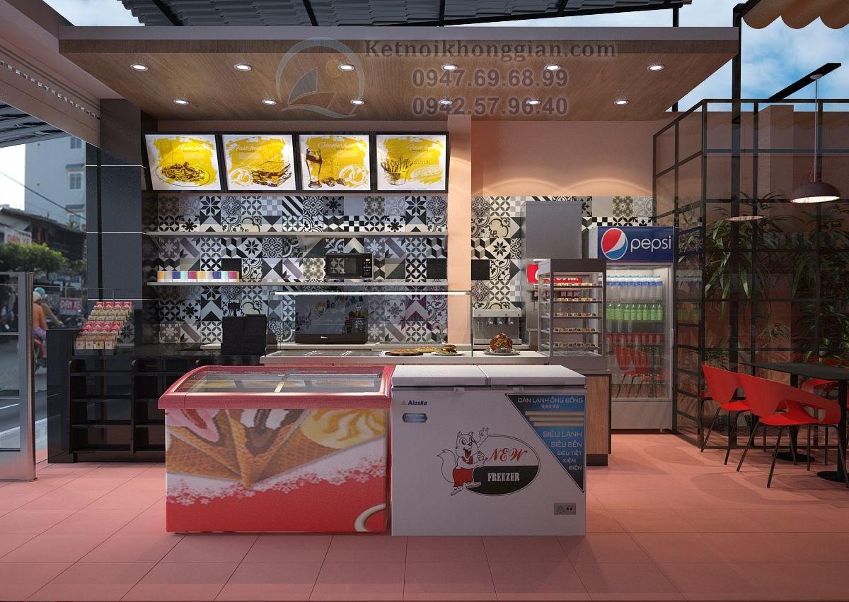 thiết kế siêu thị mini khu vực đồ ăn nhanh