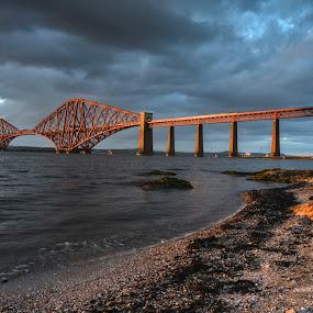 GOLDEN HOUR AT THE FORTH RAIL BRIDGE by Ross Hutton - Buildings & Architecture Bridges & Suspended Structures ( forth, scotland, ross, edinburgh, hutton, sunset, rail, train, viewpoint, bridge, landscape, river )