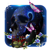 3D galaxy Skull butterfly theme