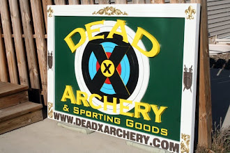 """Photo: Carved Sign Minnesota, """"Dead X Archery"""", See more wood carved signs @ at www.nicecarvings.com"""