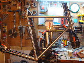 Photo: All the tubes are mitered and fit up in the fixture, tomorrow I'll cut the lugs, fit up the seat stays and hopefully get the frame brazed.