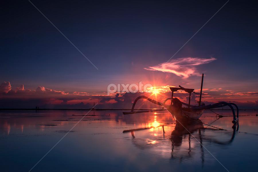 .:: brand new day ::. by Setyawan B. Prasodjo - Landscapes Sunsets & Sunrises ( bali, reflection, waterscape, red dawn, smooth wave, leissure, seascape, beach, travel, boat, landscape, slow speed photography, sindhu beach, dawn, blue sky, sunset, hideaway, long exposure, sunrise, catamaran )