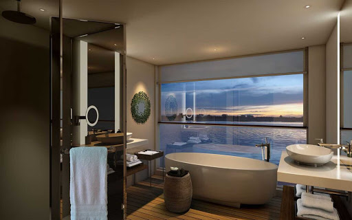 Scenic-Spirit-stateroom-bathroom - The elegantly appointed bathroom you'll find in staterooms aboard Scenic Spirit.