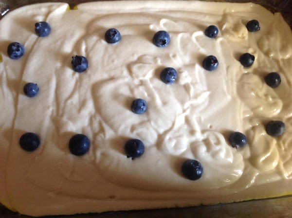 Pour batter in baking pan. Place blueberries, then Apple mixture, Sprinkle cinnamon & brown...