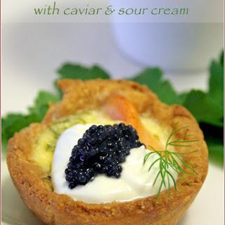 Smoked Salmon Mini-quiches With Sour Cream & Caviar