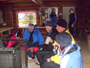 Photo: Geezers warm up in Larch Hills Chalet