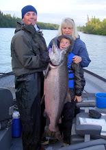 Photo: A young angler and Nigel Fox of Alaska Drift Away Fishing with a 50 plus pound Kenai king salmon.
