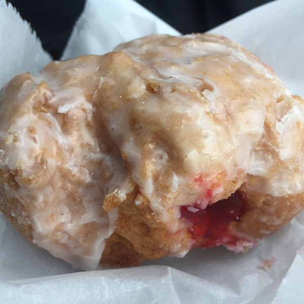 Raspberry filled donut - wow! So fresh and good...