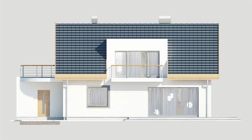 Adaś wersja B z pojedynczym garażem - Elewacja tylna