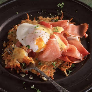 Potato Pancakes with Ham and Poached Eggs.