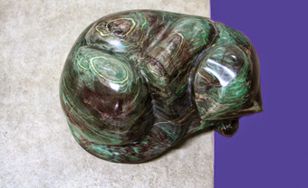 Photo: 34x26x22 cm, Green cat,  Jade stone, 2010