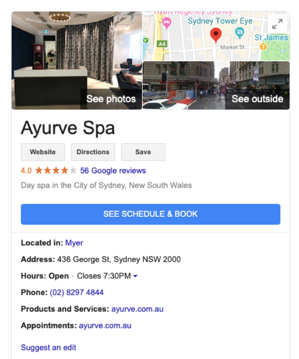 Google My Business - booking example