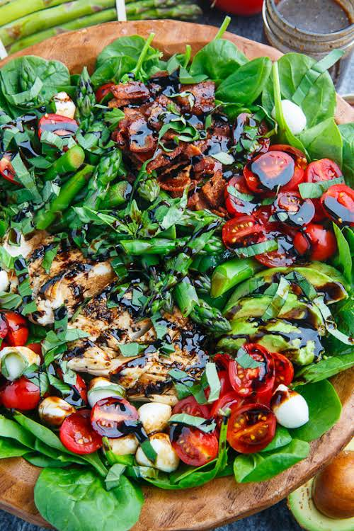 "Grilled Chicken and Asparagus Caprese Spinach Salad with Bacon and Avocado ""This..."