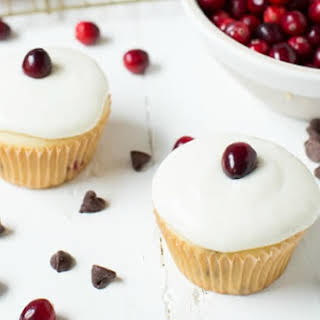 Cranberry Chocolate Chip Cupcakes with Vanilla Yoghurt Frosting.