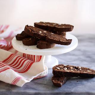 Chocolate Biscotti with Almonds.