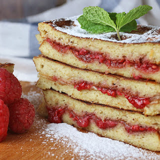 Raspberry Brie Grilled Waffles.