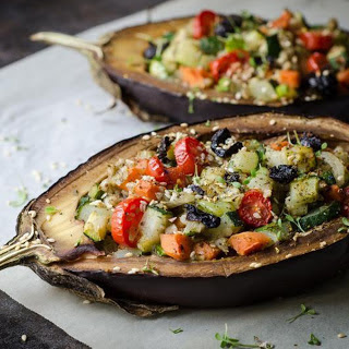 Vegetable-Stuffed Baked Eggplant [Vegan].