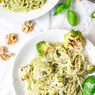 Roasted Romanesco Cauliflower Pesto Spaghetti