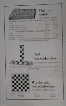 Photo: Uhlig catalogue c1913, p.17  Halma games  Rolling chess-boards (much liked in chess-clubs)  Oil-cloth chessboards with letters/numbers