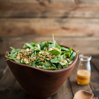 Spinach and Kamut Salad with Chili-Orange Dressing.