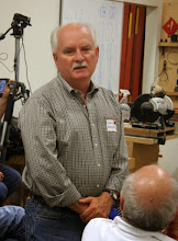 Photo: MCW guest Dave Swiger introduced himself.  He is visiting from the Mid-MD Woodturners in Frederick, where he is President.