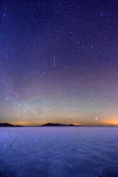 """Photo: ***EXCLUSIVE***  SALT LAKE CITY, UT - JANUARY 4: A photograph of meteor streaking between the Big Dipper and Polaris on January 4, 2012 in Salt Lake City, Utah.  Stunningly beautiful images capture the glory of the Milky Way taken with just a simple digital camera. Revealing the Earth's place in our swirling galaxy, the pictures on display look like they could have been snapped with a million pound telescope not a readily available camera. And incredibly, photographer Royce Bair has only been turning his lens to the night's sky for the past six months. Calling his series """"Night Scapes', Royce, (insert age) created the erie and ghostly images by visiting some of America's most famous national parks.  PHOTOGRAPH BY Royce Bair / Barcroft USA  UK Office, London. T +44 845 370 2233 W www.barcroftmedia.com  USA Office, New York City. T +1 212 796 2458 W www.barcroftusa.com  Indian Office, Delhi. T +91 11 4053 2429 W www.barcroftindia.com"""