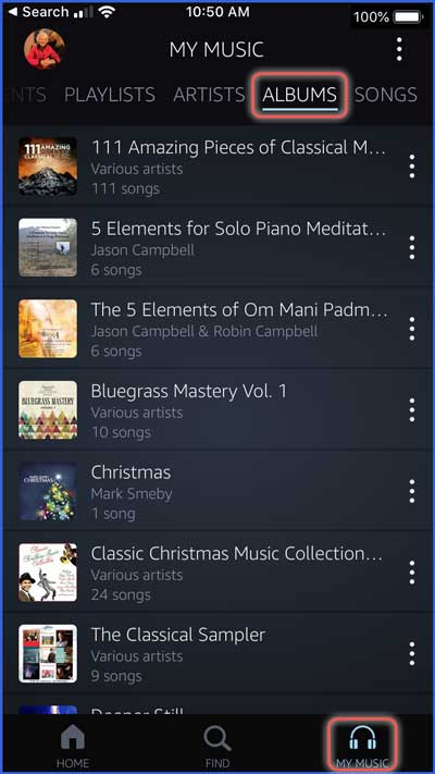 music purchases for dementia playlists in amazon music app