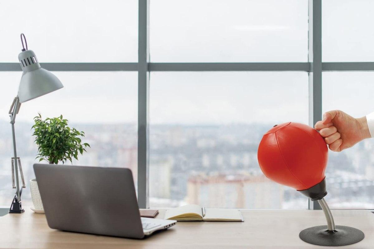 Desktop punching ball on an office desk