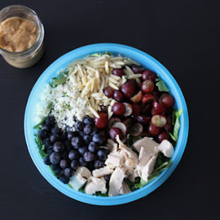 Rainbow Chicken Salad w/ Almond Honey Mustard Dressing