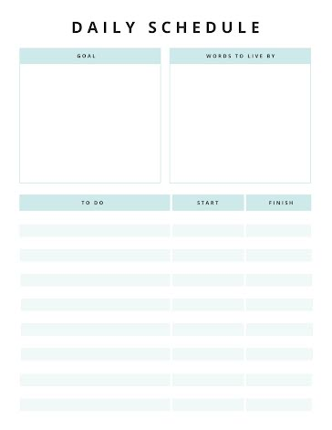 Daily Schedule & Goal - Planner template