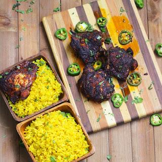 Harissa Chicken Thighs with Yellow Jasmine Rice Recipe