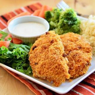 Crispy Oven Fried Buffalo Ranch Chicken Strips.