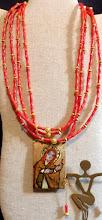 Photo: # 160 SPREADING LOVE ~ ПОШИРЕННЯ ЛЮБОВІ - copper enamel pendant, coral, gold vermeil, 14K gold plate $210/set