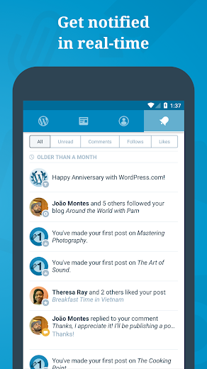 Screenshot 3 for WordPress's Android app'