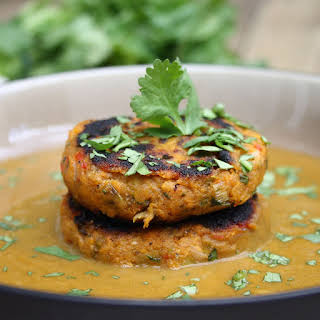 Caribbean Sweet Potato Patties with Spicy Coconut and Spinach Sauce.