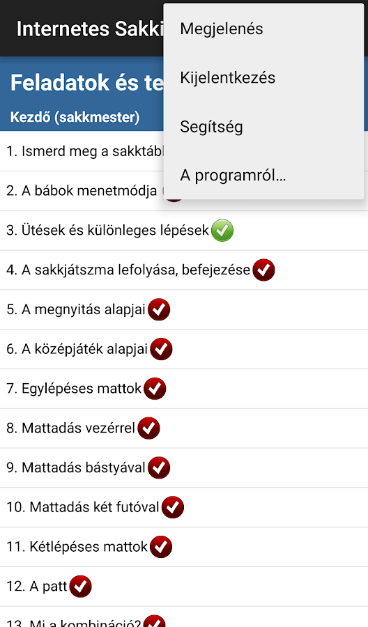 Internetes Sakkiskola- screenshot