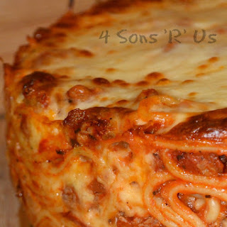 Baked Spaghetti Pie with Pepperoni.