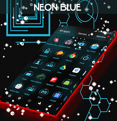 Neon Blue Tech Go Theme - screenshot