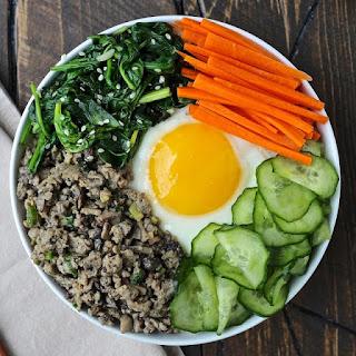 Korean Rice Bowls with Turkey and Mushrooms.